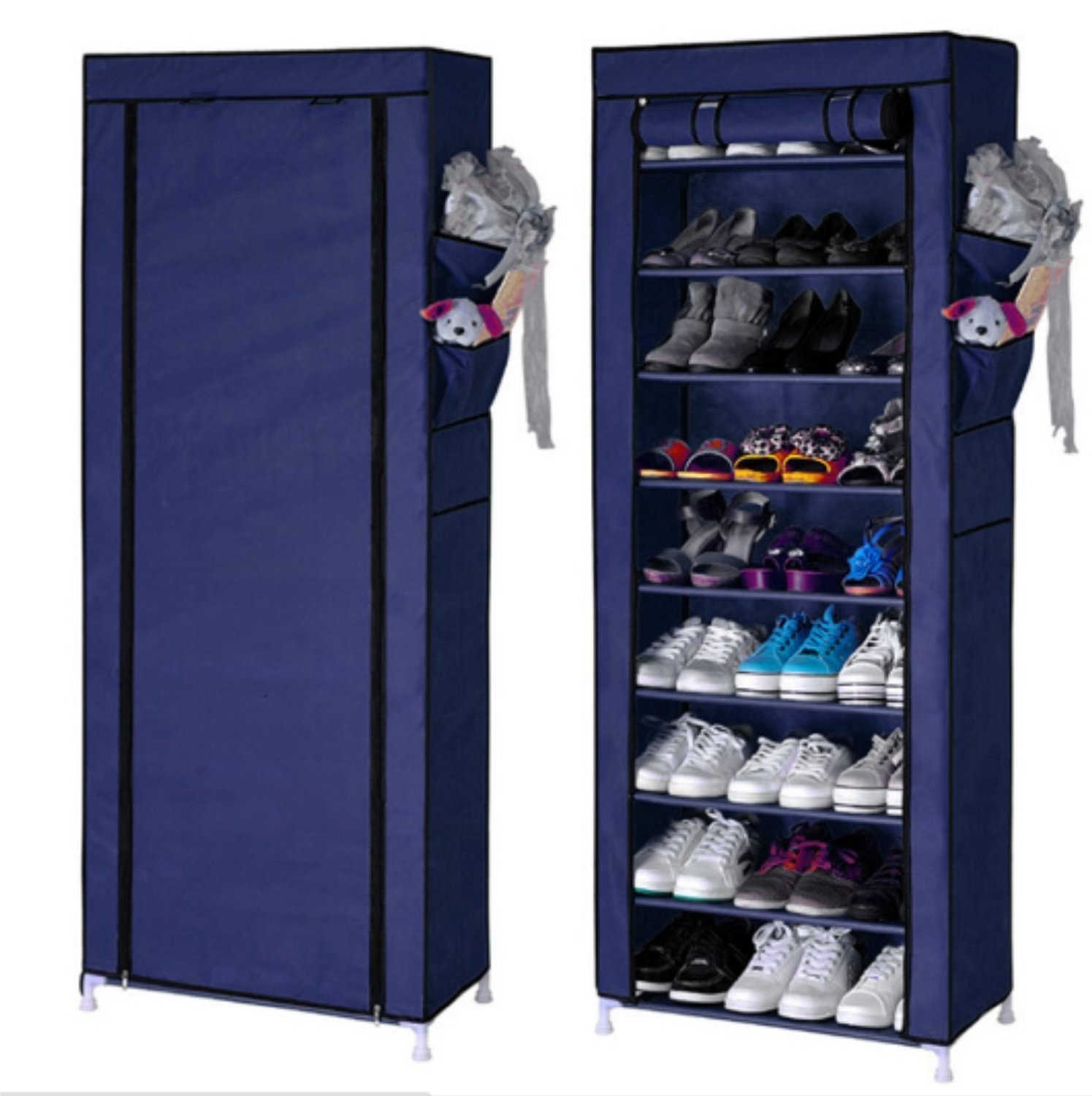 Karp Shoe Rack,Portable 10 Layer 9 Grid 30 Pair Shoe Rack With ...