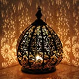 albena shop 71-5242 Saloni Oriental Fer Lanterne de Jardin 30cm Style marocain métal Noir/intérieur Or