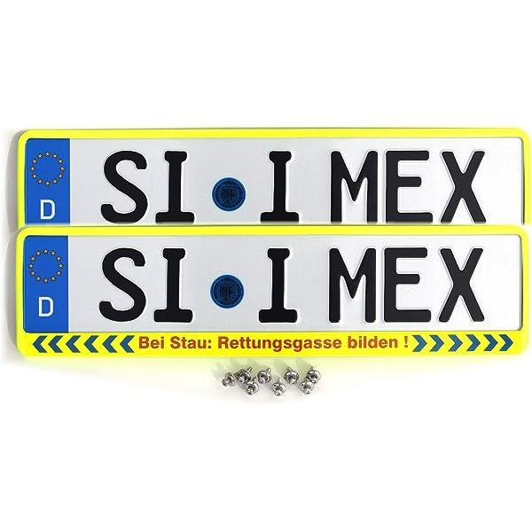 I Mex 2 X Kennzeichenhalter Bei Stau Rettungsgasse Bilden Neon Gelb Inkl 8 X Befestigungsschrauben A2 Nummernschildhalter Dhl Versand Auto