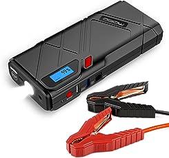 MoKo 12000mAh Auto Starthilfe - 1200A Spitzenstrom Auto Anlasser Autostartshilfe Jump Starter Kfz Starthilfe Energiestation Autostatshilfe mit QC3.0 Ausgang und LED Notfalllicht, Rot