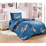 Compressed Comforter 3 Piece Set For Kids Single Size By Moon, Cars, Blue, Mixed Material