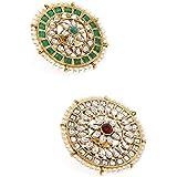 Zaveri Pearls Combo of 2 Traditional Kundan Adjustable Finger Ring For Women-ZPFK10517