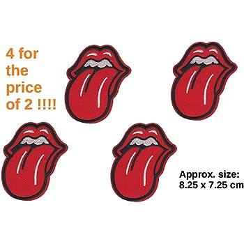 set von 4 rolling stones zunge lippen logo insignia patch
