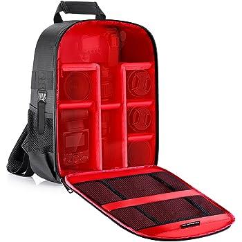 Neewer Professionale Zaino Backpack Impermeabile Antiurto per Fotocamera 31x14x37cm con Tasca Laterale per Treppiedi, per Fotocamere SLR/DSLR/Mirrorless, Flash & Altri Accessori (Rosso all'Interno)