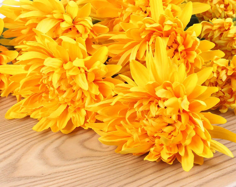 sevenTimes – 2 Cabezas de Gerbera Artificial, crisantemo de Seda, Flores Artificiales, Flores Artificiales, decoración para el hogar, Amarillo, Talla única