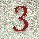 Colours-Manufaktur Huisnummer nr. 3 - lettertype: klassiek - hoogte: 20-30 cm - vele kleuren selecteerbaar (RAL 3001 signaal