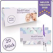 MediVinius Schwangerschaftstest Frühtest 20 Stück - Frühschwangerschaftstest einfach & schnell in 5 Minuten - Schwangerschaft