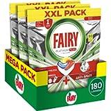 Fairy Platinum Plus Allin1 Pastiglie Lavastoviglie, 180 Cicli, 3 x 60 Capsule, Detersivo al Limone, Brillantezza…