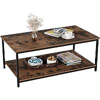 Homfa Table Basse Vintage Table d'Appoint Table de Salon avec 2 Étagère 108×52×45cm en Bois