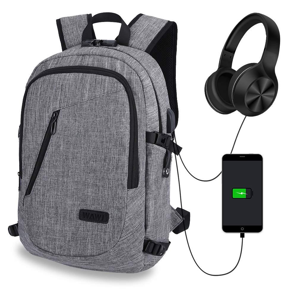 d697e3c769 WAWJ Unisex Multiuso Antifurto Zaino con Porta USB, Zaino per PC Portatile  Impermeabile da Uomo Borsa Universitaria Daypack per La Scuola Scuola, ...
