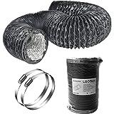 LOOTICH Tuyau d'Evacuation d'aération Flexible en PVC Aluminium Gaine de Ventilation Ø102mm* 2.5m pour Salle de bain Cuisine