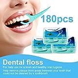 Hilo Dental 180 Piezas, Palillos de Hilo Dental Plástico, Hilo Dental Menta Fresca para Interdental Oral Limpieza - Floss Sti