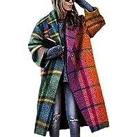 WHZXYDN Autunno Abbigliamento da Donna Cappotto di Lana Stampato A Quadri A Maniche Lunghe Scozzese A Blocchi di Colore