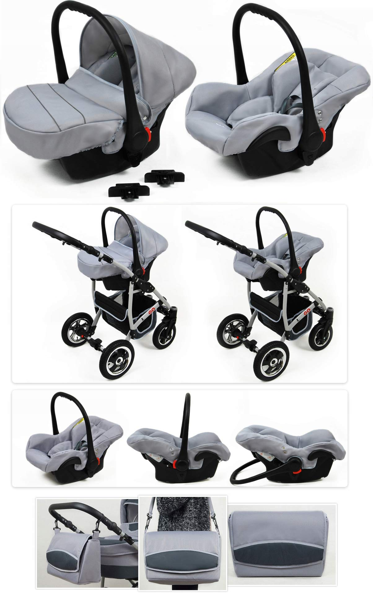 SaintBaby Stroller Pram 2in1 3in1 Set All in one Baby seat Buggy Pushchair New L-GO Black 3in1 with Baby seat SaintBaby 3in1 or 2in1 Selectable. At 3in1 you will also receive the car seat (baby seat). Of course you get the baby tub (classic pram) as well as the buggy attachment (sports seat) no matter if 2in1 or 3in1. The car naturally complies with the EU safety standard EN1888. During production and before shipment, each wagon is carefully inspected so that you can be sure you have one of the best wagons. Saintbaby stands for all-in-one carefree packages, so you will also receive a diaper bag in the same colour as the car as well as rain and insect protection free of charge. With all the colours of this pram you will find the pram of your dreams. 5