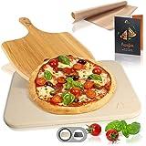 Amazy Pierre à Pizza avec Pelle à Pizza, Papier Cuisson réutilisable et livret de Recettes- La Plaque de Cuisson Donne à Votr
