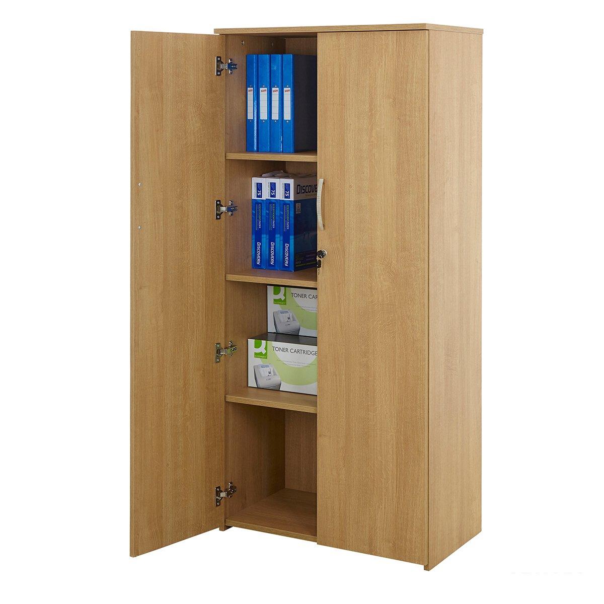 Beech Or Oak Office Cupboard Storage Lockable Cabinet Home Filing ...