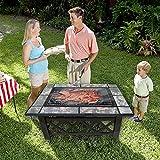 HENGMEI 94x71x45cm Multifunktional Feuerschale Feuerstelle Fire Pit Grillstelle Feuerkorb mit Grillrost Funkenschutz für BBQ, Heizung,Garten (Modell B, 94cm) Test