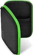 deleyCON Navi Tasche/Navi Case/Tasche für Navigationsgeräte - 4,3 Zoll & 5 Zoll (14,6x9,3x3,4cm) - Robust Stoßsicher 2 Innenfächer - Schwarz/Grün