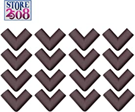 Store2508® Corner Guards for Child Infant Safety with Special Fibreglass Tape with Silicon Adhesive & Instructions (16 Pcs) (Brown)