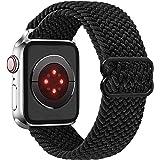 Vecann Solo Loop Correa Nailon trenzada compatible con Apple Watch 38mm 40mm 42mm 44mm, ajustable Elásticos deportivos Correa