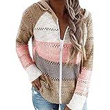 UMIPUBO Felpa con cappuccio da donna Fuzzy Hollow Out Pullover Maglioni Scollo a V Blocchi di Colore Maglia Oversize Felpa Ca