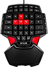 Delux T9 Portable Mini Gaming One Handed USB FPS Gamer Gamepad with LED Backlight Dual Space-Keys Red Cap AWSD Keys
