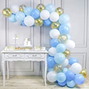 PartyWoo Blue and White Balloons, 70 pcs 12 in Pale Blue Balloons, Baby Blue Balloons, White and Gold Confetti Balloons, Gold