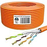 HB-Digital 50m Cat. 7 LAN Cabel di rete Cavo di installazione Ethernet Cabel Rame Profi S/FTP PIMF LSZH Giallo senza alogeni
