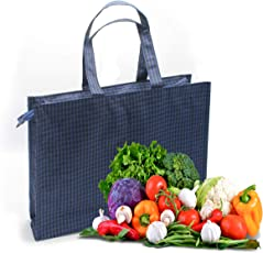 Shopaholic Attractive Check Designed Vegetable Bag with Pockets for Purchase Vegetables, Fruits & More (Blue)