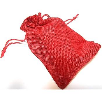 24 Sacchetti di iuta, 10 x 14 cm, ideali per il calendario dell'Avvento, sacchetto di stoffa naturali ideali come sacchetti regalo, colore rosso