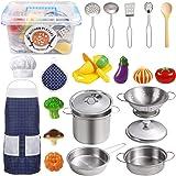 EFO SHM Köksleksaker tillbehör barnkök köksutrustning rostfritt stål pannuppsättning förkläde och kockhatt för grönsaker Pret