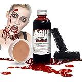 Kit de Sangre Falsa 100ml, Cera para Modelar 50g y 2 Esponja Motear para Crear Heridas y Costras, Sangre Artificial Lavable y