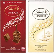 Lindt Lindor Combo Of 2 Irresistibly Smooth Chocolates (White And Milk), 100 Grams Each