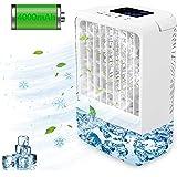 Refroidisseur d'air Portable Climatiseur Mobile USB,EEIEER 4000mAh 4 en 1 Climatiseur Portable Ventilateur Air Humidificateur