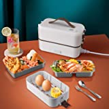 Bento Lunch Box,Gamelle Chauffante Electrique,220V 300W 0.8L Boite qui Garde Termosse Repas Chaud,2 Couches Compartiment,PTC