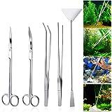 UEETEK Aquarium Aquascaping Kit 5 en 1 inox Aquarium Tank plante aquatique outils ensembles pinces ciseaux spatule