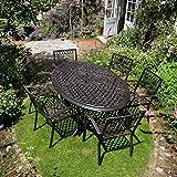 Lazy Susan - NICOLE 180 x 115 cm Ovaler Gartentisch mit 6 Stühlen - Gartenmöbel Set aus Metall, Antik Bronze (MARY Stühle)