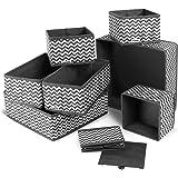 ilauke Boite Rangement, 8pcs Boîtes de Rangement Ouvertes en Textile Non-Tissé, Tiroir en Tissu,Cube de Rangement Pliable Cof