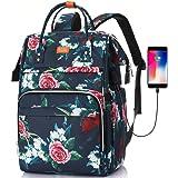 Laptop ryggsäck 15,6 cm dator   RFID-ficka och USB-laddningsport   vidöppen skolryggsäck   för kvinnor högskola resa affärer