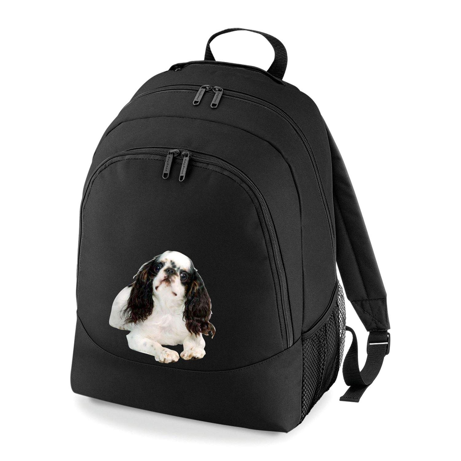 Taurus Clothing English Toy Spaniel Dog Personalised Embroidered Rucksack Black