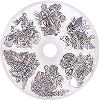 PandaHall Elite Circa 51pcs 6 Stile Angelo Custode Charms ciondoli Tibetano pendanti in Lega ciondoli per Bomboniere…