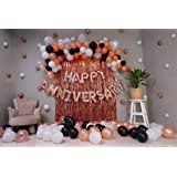 Wisdom Decor Happy Anniversary Decoration Set Of 48 With 16 Happy Anniversary Foil Balloon 2 Rose Gold Curtain 30 Black Rose