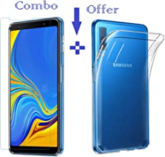 Sanguine Tempered Glass & Back Cover Best Quality [Combo-Transparent] Soft Flexible Case for Samsung Galaxy A7 2018