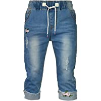 PHOENISING Women's Ripped Hole Style Trousers Embroidery Fashion Jeans,Size 6-20