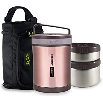 Buy Home Puff Double Wall Vacuum Insulated Stainless Steel Lunch Box, 1.7 Litre, 3-Piece, Grey
