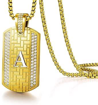 Louisa Secret - Collana da uomo con ciondolo a forma di lettera dell'alfabeto placcato oro, stile hip hop, 55 + 5 cm, regolabile, regalo per uomo e festa del papà