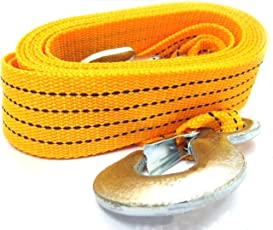 Tiny Deal 4M Long Super Strong Emergency Heavy Duty Car Tow Cable 3 Ton Towing Strap Rope With Dual Forged Hooks - Yellow Rep-228256