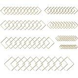 80 pezzi cornici per orecchini in acciaio inox con ciondolo geometrico a forma di cornice cava con 8 dimensioni dorate, per g