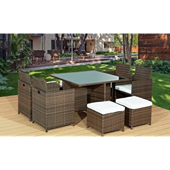 rattan garden furniture cube dining set ideal outdoor rh amazon co uk