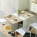 Tiptiper Table de Salle à Manger Pliable, Table de Cuisine Pliable avec 6 Roues et 2 Supports de Rangement, Table de Dîner Po